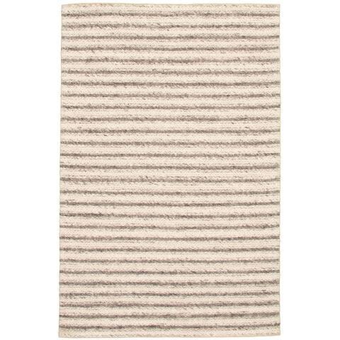 ECARPETGALLERY Braid weave Sienna Ivory Wool Rug - 6'4 x 9'8