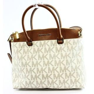 Michael Kors NEW Ivory Vanilla PVC Logo Aubrey Large Satchel Bag Purse