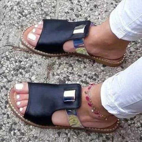 Flat-Heel Simple Open-Toed Sandals, 3 Colors