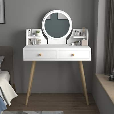 """Kerrogee Wooden Makeup Vanity Table with Adjustable Lighted Mirror - Open Shelves & 2 Drawers - White - 31.5""""L x 15.7""""W x 47.6""""H"""