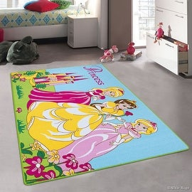 "AllStar Purple Rug Kids / Baby Room Area Rug. Princess Bright Colorful Vibrant Blue and Green Colors (3' 3"" x 4' 10"")"