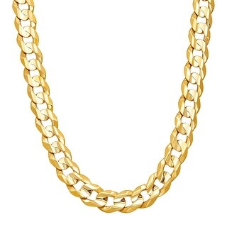 "Just Gold Men's Concave Curb Chain Necklace in 10K Gold, 22"" - YELLOW"