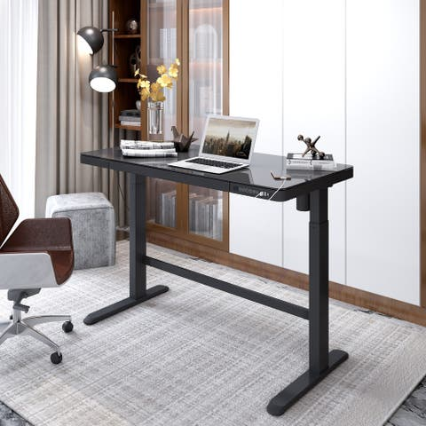 """FlexiSpot Home Office Electric Height Adjustable Desk 48"""" Width Standing Desk Computer Desk Glass Top With Drawer, USB Charged"""
