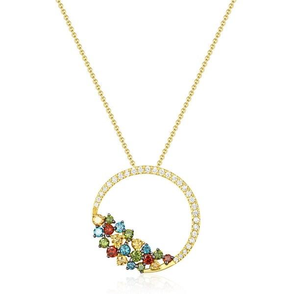 0.63Ct Round Brilliant Cut G-H/SI1 Multi Color Diamond & White Diamond Pendant