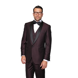 ENZO1 Men's 3pc SHARKSKIN PLUM Suit, Modern Fit, 1 Button, 2 Side Vent, Flat Front Pants