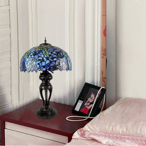 Glacy 20-inch Wisteria Design Stained Glass/Bronze Tiffany-Style Table Lamp