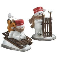 """8"""" Decorative Snowman Riding Wooden Sled with Fox Christmas Table Top Figure - WHITE"""