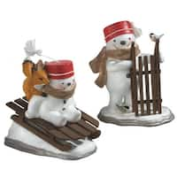 "8.5"" Decorative Snowman with Wooden Sled Christmas Table Top Figure - WHITE"