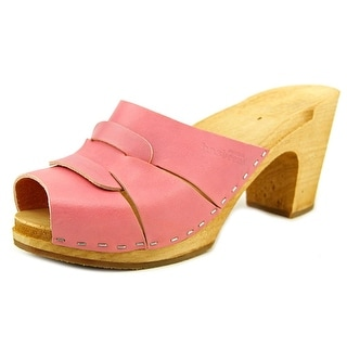 Swedish Hasbeens 421 Women Peep-Toe Leather Pink Mules