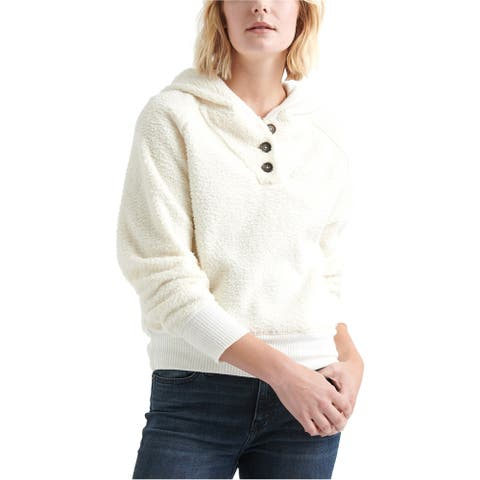 Lucky Brand Womens Button Neck Fleece Hoodie Sweatshirt, White, Large