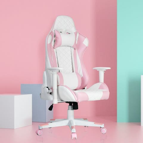 Pink Gaming Chair with Lumbar Support