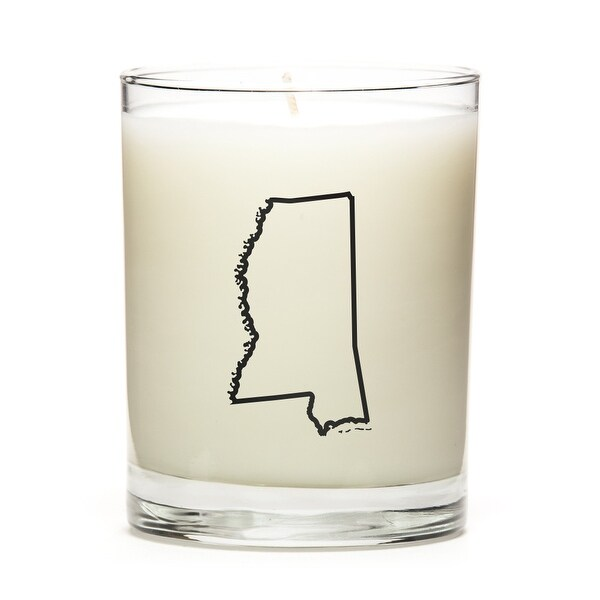 Custom Candles with the Map Outline Mississippi, Eucalyptus