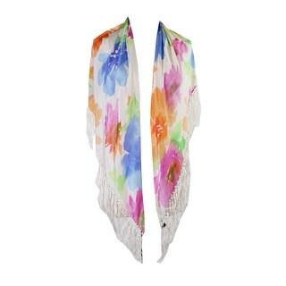 Lauren Ralph Lauren White Multi Simone Fringed Triangle Scarf OS