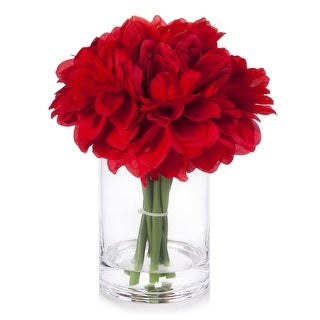 Link to Enova Home Silk Dahlia Arrangement in Clear Glass Vase With Faux Water For Home Decoration Similar Items in Decorative Accessories