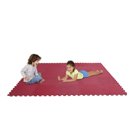 Edushape Puzzle Play Mat Set, 12 Inches, Red, Set of 25