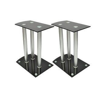 vidaXL Aluminum Speaker Stands 2 pcs Black Glass