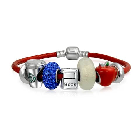 925 Sterling Silver Back To School Charm Beads Bracelet