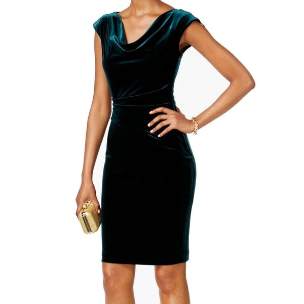 3c7b529eae Shop Jessica Howard NEW Green Womens Size 12 Velvet Cowl Neck Sheath Dress  - Free Shipping On Orders Over  45 - Overstock.com - 18618842