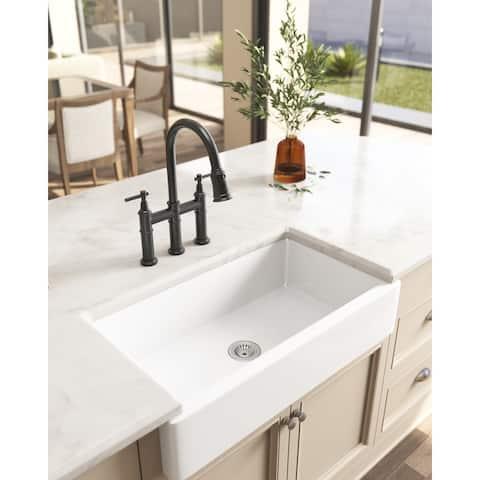 "30""L x 19"" White Ceramic Kitchen Sink - 30*19*8in"