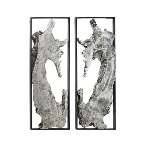 Contemporary Abstract Art Silver Metal Wall Decor in Black Frames Set of 2