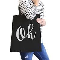 Oh Black Canvas Bag Cute Calligraphy Eco Bag Gift For Students
