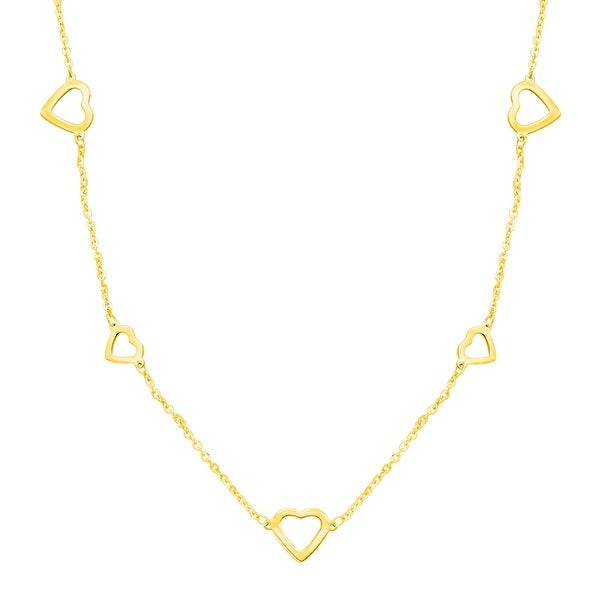 Just Gold Open Heart Garland Necklace in 10K Gold - Yellow