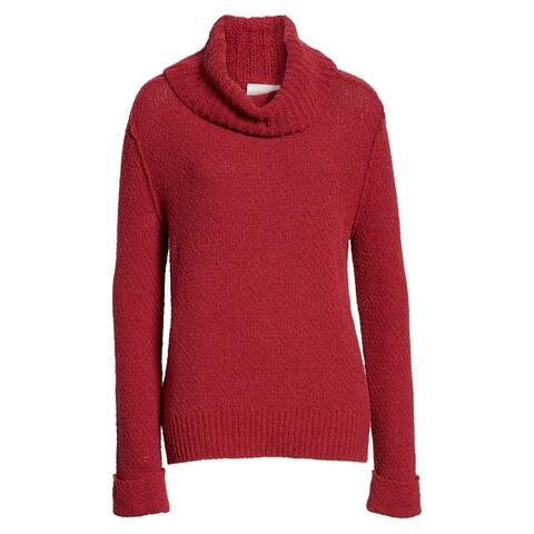 Caslon Womens Sweater Red Maroon Size Medium M Cowl Neck Ribbed-Hem