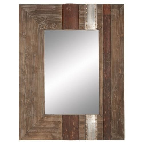 """Aspire Home Accents 78344 36"""" Rustic Wood Wall Mirror"""