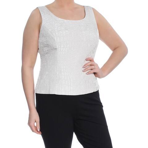 KASPER Womens Beige Jacquard Shell Sleeveless Scoop Neck Top Size 14