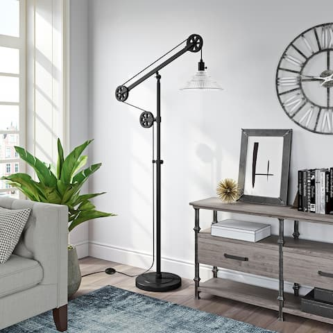 Carbon Loft Tirith Floor Lamp in Blackened Bronze Finish with Pulley System and Ribbed Glass Shade