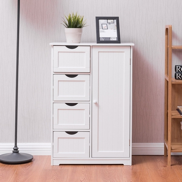 Shop Costway Wooden 4 Drawer Bathroom Cabinet Storage Cupboard 2 Shelves Free Standing White