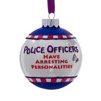 """3"""" Glittered """"Police Officers Have Arresting Personalities"""" Christmas Ball Ornament - WHITE"""