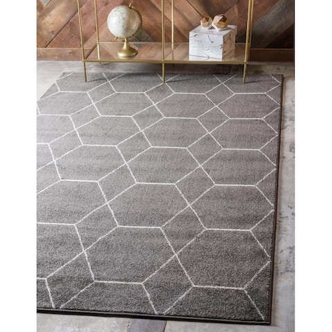 Unique Loom Geometric Trellis Frieze Area Rug