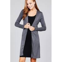 Ladies fashion long sleeve open front side slit tunic length rayon spandex rib cardigan