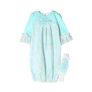 Isobella & Chloe Baby Girls Light Blue Sweet Pea Lace Layette Sack