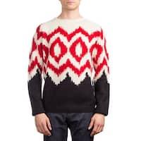 Prada Men's Alpaca Wool Argyle Crewneck Sweater White