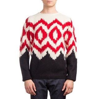 Prada Men's Alpaca Wool Argyle Crewneck Sweater White