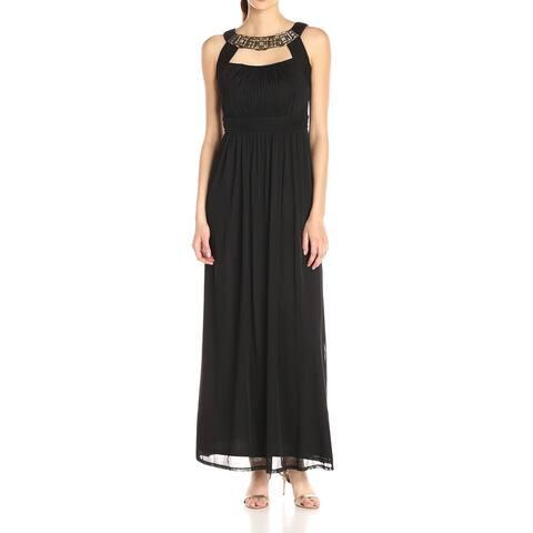 Sangria Womens Gown Black Size 10 Embellished Neckline Cutout Chiffon