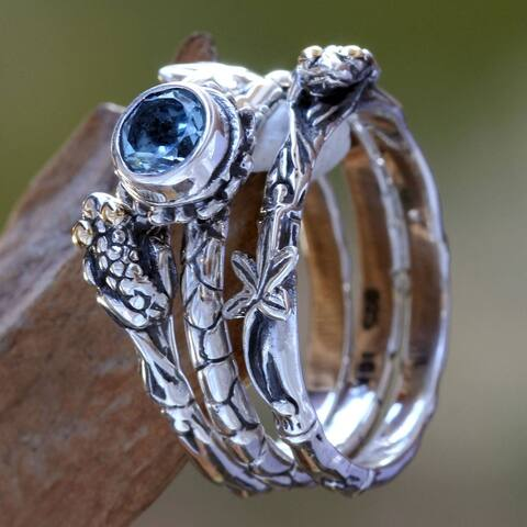 NOVICA Tree Frog, Blue topaz stacking rings (set of 3)