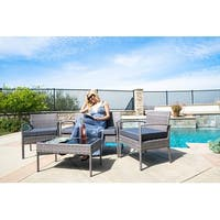 BELLEZE4 PC Furniture Outdoor Set 4 Piece Patio Outdoor Rattan Patio Set One Glass Table Two Chairs One Sofa