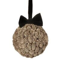 5 in. Gold Metallic Pine Cone Ball with Black Bow Christmas Ornament