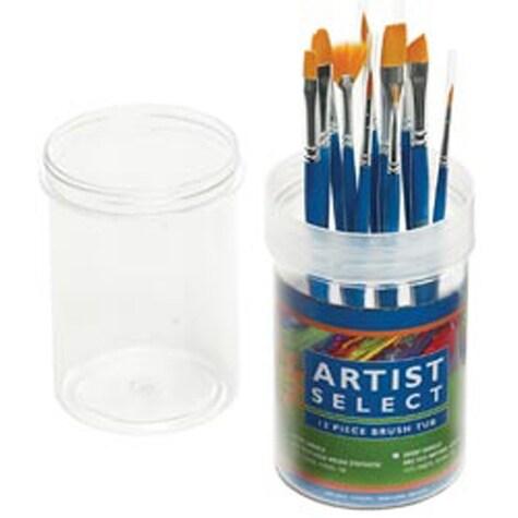 Gold Nylon - Artist Select Short Handle Brush Tub Assortment 12/Pkg