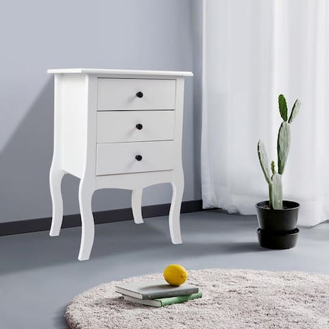 Porch & Den Platanus White Three-drawer Bedside Table with Cabriolle Legs