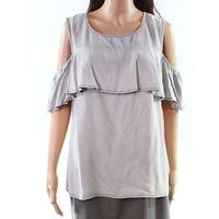 Lauren By Ralph Lauren Gray Women's Size Large L Cold-Shoulder Top