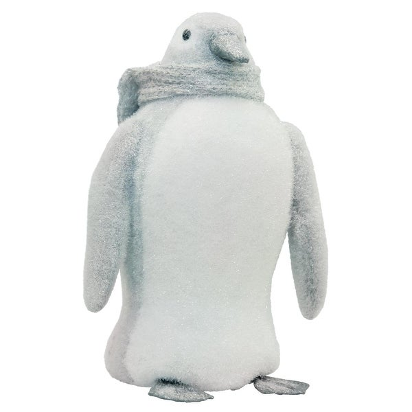"""15"""" Gray and White Sparkling Penguin with Scarf Tabletop Decoration"""