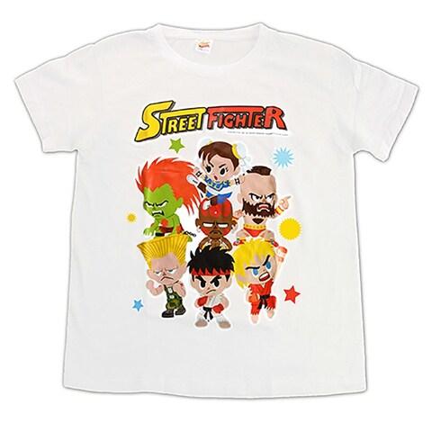 Novelty Street Fighter White Style 1 Group T-Shirt (Size Medium)