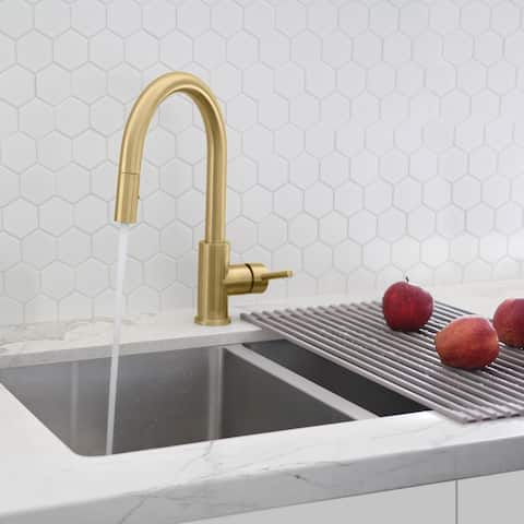 "Modern Single Handle Pull down Sprayer Kitchen Faucet in Gold Stainless Steel - Faucet height: 14"" Spout height: 7"""