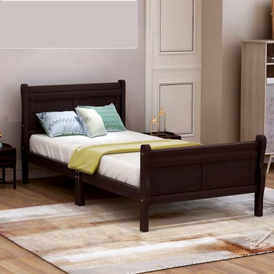 Wood Platform Bed Twin Bed Frame Mattress Foundation with Headboard