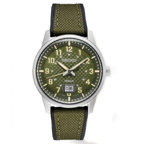 Seiko Men's SUR323 'Essentials' Green Nylon/Silicone Watch