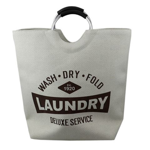 Deluxe Service Canvas Laundry Tote Padded Aluminum Handles, Natural